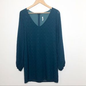 Sage Long Sleeve Textured Tunic Dress Teal Size S